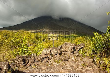View of the Arenal volcano in the Arenal Volcano National Park. Costa Rica
