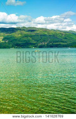 Canoe on Loch Lomond in Luss Scotland UK