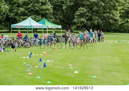 Wakefield-England July-2016 Activities at Nostell Priory Practice your bike skills at one of the cycling events editorial photo