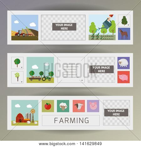 Vector agriculture and farming. Web Banners.