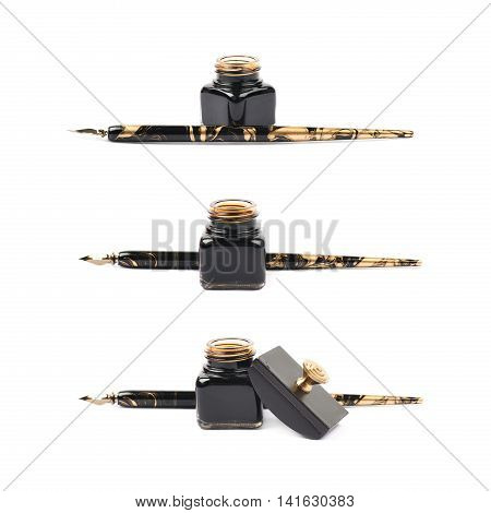Ink writing tools composition of a blotting paper press, ink bottle and dip tip pen, isolated over the white background, set of three different foreshortenings