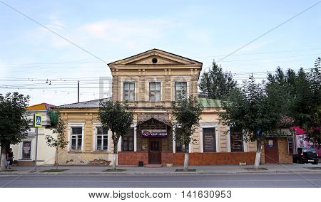 PENZA RUSSIA - AUGUST 12 2012: Merchant's house with an attic in the old part of Penza