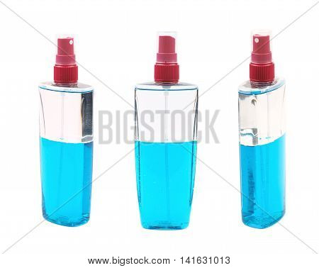 Plastic flacon bottle dispenser filled with the blue liquid isolated over the white background, set of three different foreshortenings
