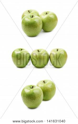 Composition of multiple ripe and green granny Smith apples isolated over the white background, set of three different foreshortenings