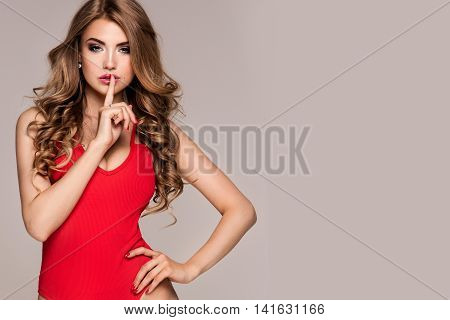 Sexy Blonde Woman Posing In Studio.
