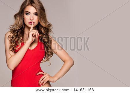 Sexy Blonde Woman Posing In Studio.
