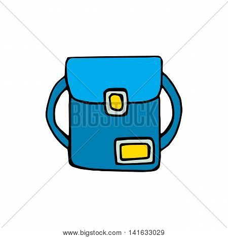 School bag icon isolated on white background in style hand draw