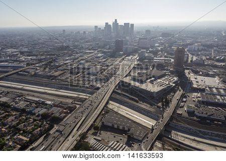 Los Angeles, California, USA - August 6, 2016:  Thick summer smog shrouding downtown Los Angeles and the Hollywood 101 Freeway.