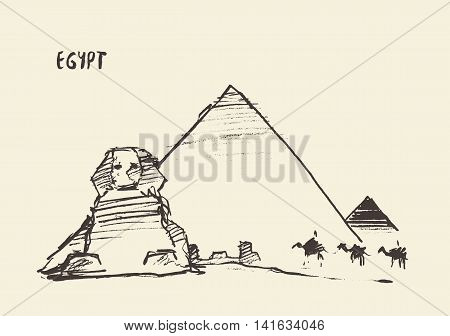 Sketch of the Pyramids and Great Sphinx of Giza in Cairo, Egypt. Vector illustration