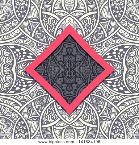 Template with frame and seamless  Zen-doodle or  Zen-tangle  pattern in grey red colors for advertising cosmetic perfumer  or for decorate package clothes or other things