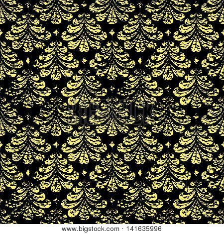 Vector vintage damask seamless pattern element. Grunge print style.