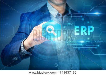 Business, Internet, Technology Concept.businessman Chooses Erp Button On A Touch Screen Interface.