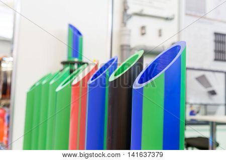 Samples of plastic pipes