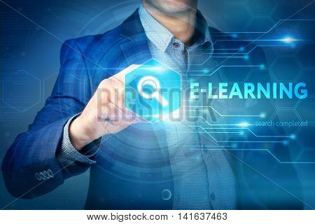 Business, Internet, Technology Concept.businessman Chooses E-learning Button On A Touch Screen Inter