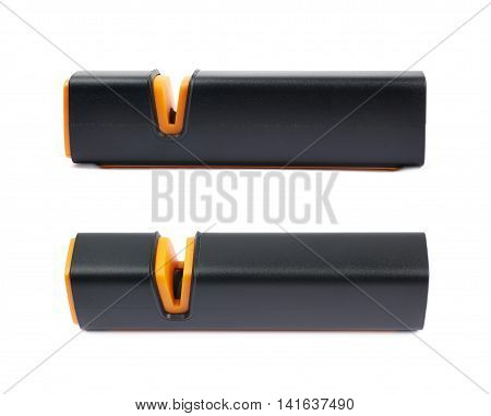 Plastic black knife sharpener isolated over the white background, set of two different foreshortenings