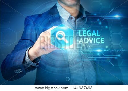 Business, Internet, Technology Concept.businessman Chooses Legal Advice Button On A Touch Screen Int