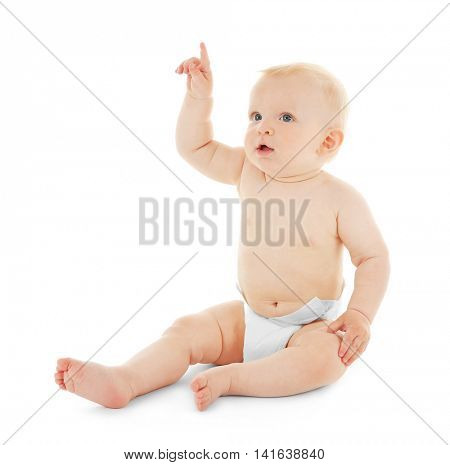 Baby sitting on white background