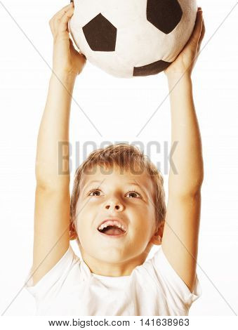 little cute boy playing football ball isolated on white background close up catching moove