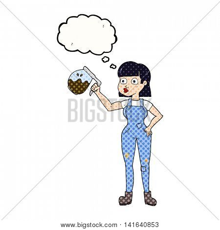 freehand drawn thought bubble cartoon woman in dungarees with coffee