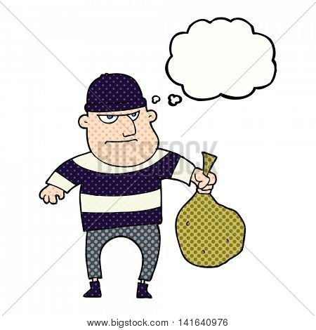 freehand drawn thought bubble cartoon burglar with loot bag