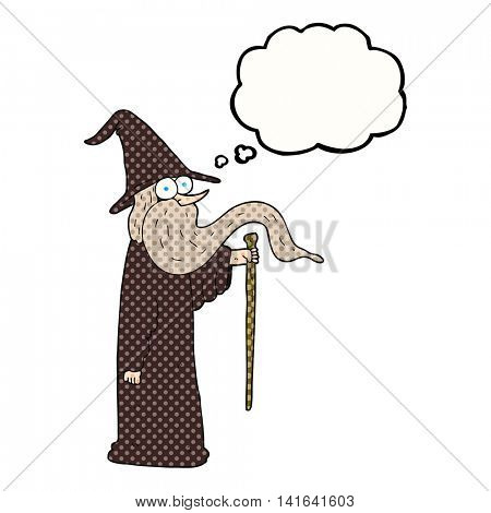 freehand drawn thought bubble cartoon wizard