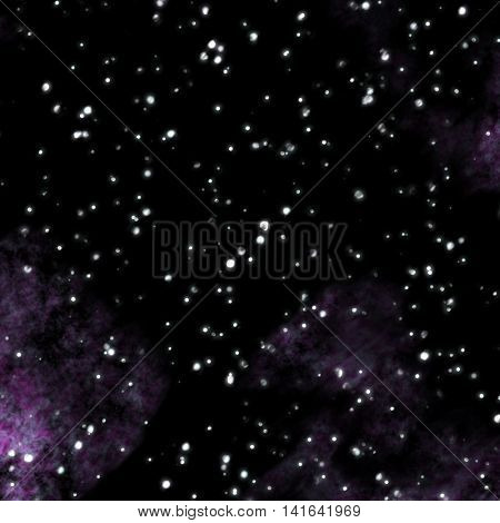 Outer space with purple clouds and big stars.