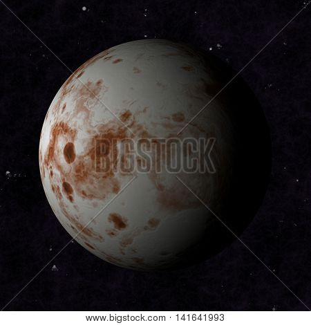 Planet Mars type, with a white clouds and dark side. In cosmic space.
