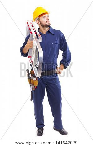 Worker holding a aluminum stepladder, isolated on white background