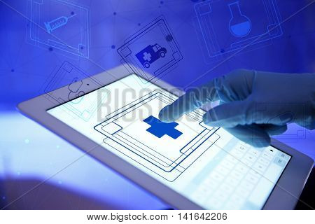 Doctor working with tablet-pc, close up. Medical technology concept