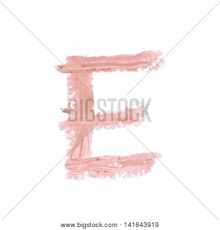 Single abc latin letter E symbol drawn with a wax crayon isolated over the white background