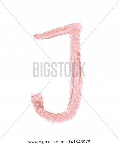 Single abc latin J letter symbol drawn with a wax crayon isolated over the white background
