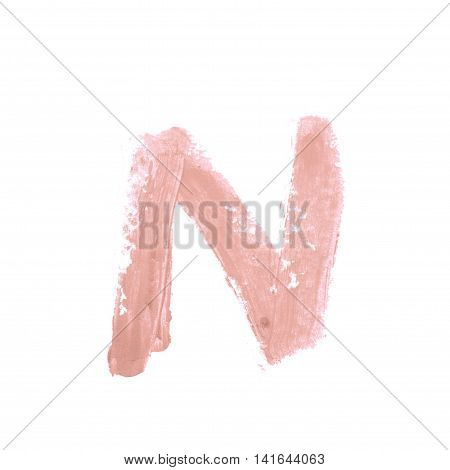 Single abc latin N letter symbol drawn with a wax crayon isolated over the white background