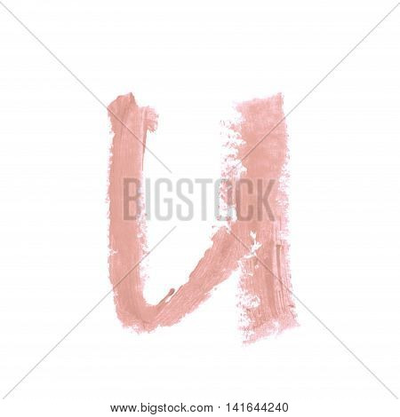 Single abc latin U letter symbol drawn with a wax crayon isolated over the white background