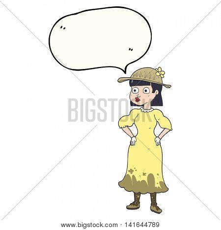 freehand drawn speech bubble cartoon woman in sensible dress