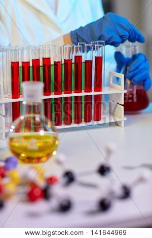 Laboratory test tubes in science research lab