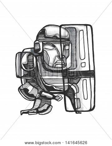 Hand drawn illustration or drawing of a riot police man with shield and helmet
