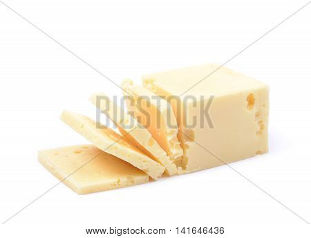 Sliced piece of cheese isolated over the white background
