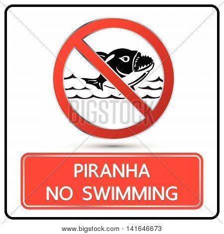 No Swimming Piranha Sign And Symbol Vector