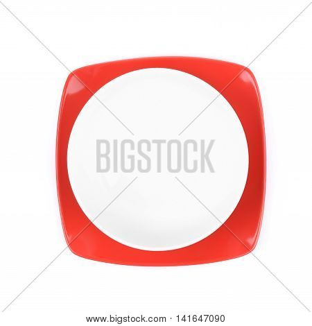 Red and white empty ceramic bowl over a square plate, composition isolated over the white background