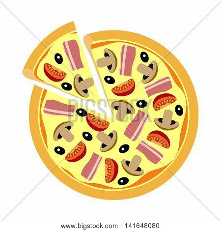 Assorted pizza with mushrooms, tomatoes, olives and meat closeup. Pizza flat design.Pizza food on a white background.