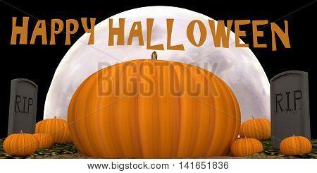 This is a Moonlit Halloween Pumpkin &Tombstone Scene.