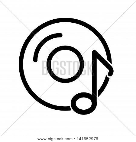 music note vinyl melody sound icon. Isolated and flat illustration. Vector graphic