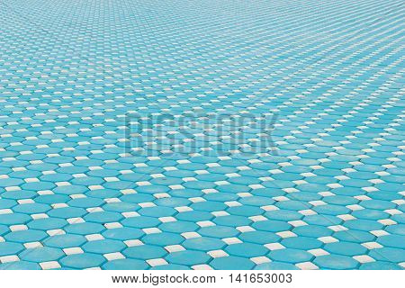 blue octagonal brick paving ground with perspective view