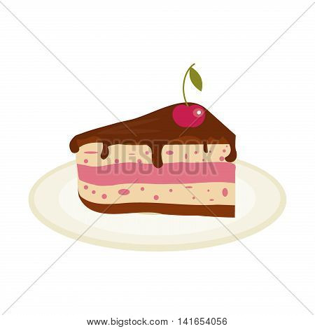 Piece of chocolate cake with cream and cherry birthday tasty bake. Vector illustration chocolate piece cake slice. Sugar gourmet pastry cake slice sweet delicious pie dessert food.