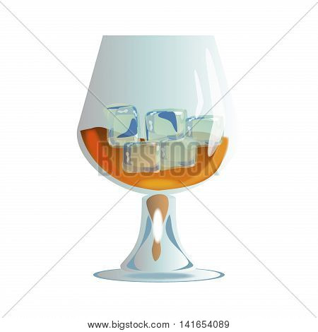 whiskey with ice in glass isolated on white vector. Glass of scotch whiskey and ice. Brown brandy glass beverage transparent cognac. Elegance restaurant brandy glass classic golden strong scotch.