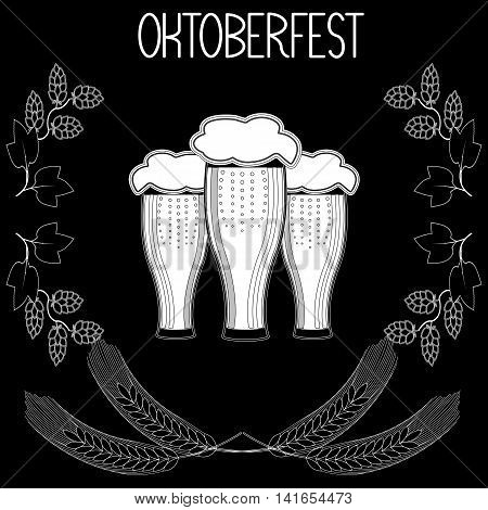 Three glasses of beer, barley, hops, Oktoberfest. Hand draw, sketch. vector