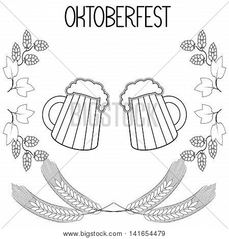Two mugs of beer, barley, hops, Oktoberfest.  Hand draw, sketch. vector