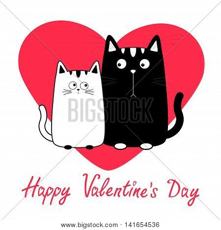 Happy Valentines Day. Cute cartoon black white cat boy and girl family. Big red heart. Kitty couple on date. Moustache whisker. Funny character set. Love greeting card. Flat design. Isolated. Vector