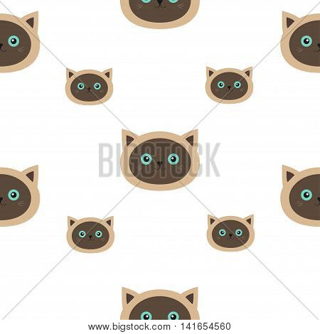 Siamese cat seamless pattern Flat design style. Cute cartoon character. Happy kitten with blue eyes. Baby background. Isolated. Vector illustration