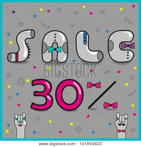 Inscription for retail. Sale Thirty percents. Gray artistic font. Vintage letters with colorful ties. Cartoon hands looking at each other. illustration